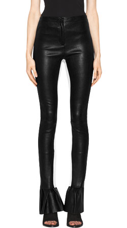 Stylish Flounce Hem Leather Pants