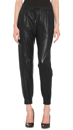 Luxe Leather Pants for Women with Elastic Cuffs