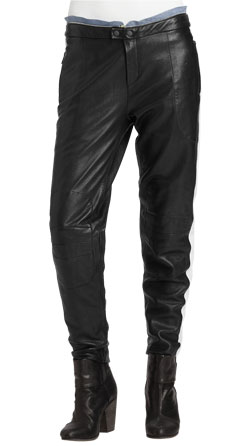 Contrast Zip Trimmed Leather Pants