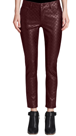 Womens Lambskin Leather Pants with  Diamond Stitch Patterns