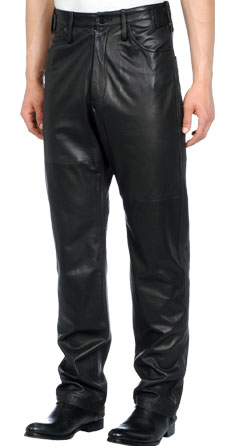 Loose-fit leather pant for men