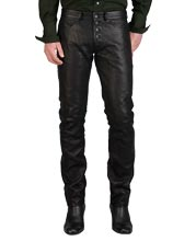 Business Pattern Button Closure Leather Pants