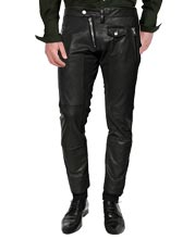 Cross Zip Closing Leather Pant