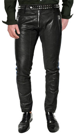 Metallic Style Studded Detailed Leather Pant