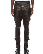 diagonal-front-lambskin-leather-cargo-pants