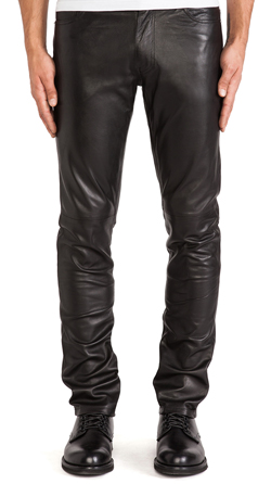 Mens Leather Tapered Fit Biker Pants