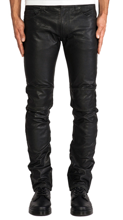 Mens Lambskin Leather Pants with Knee Patches
