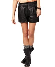 pleated-womens-leather-shorts