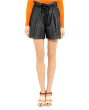 adjustable-knot-detailed-leather-shorts