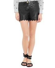 scalloped-hem-patterned-leather-shorts