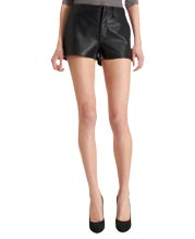 stylish-rolled-up-hem-leather-shorts