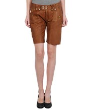 Modish Leather Shorts with Unfinished Hems