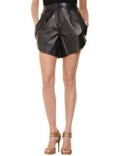Trenchant and Lapel Adorned Leather Shorts