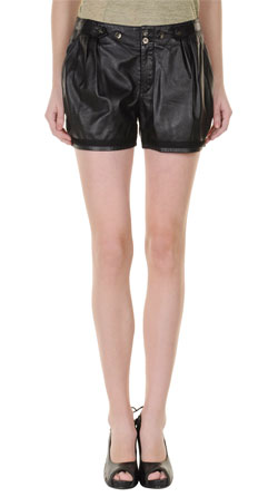 Womens Leather Shorts With Pleat Detailing