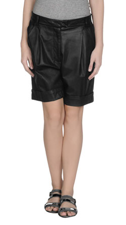 Womens Leather Shorts with Elasticized Waist