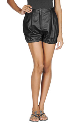 Elastic Bottom Leather Shorts for Women