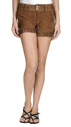Fringe Suede Womens Leather Shorts