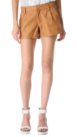 Menswear Inspired Womens Leather Shorts