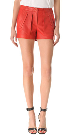 Layered Womens Leather Shorts