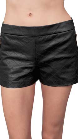 Womens Leather Shorts with Zippered Back Closure