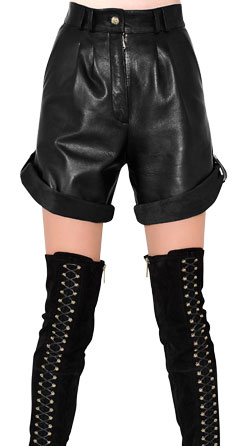 Leather Shorts with Pleated Front Panels