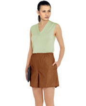 Flared Serrated Seam Ruched Front Skort