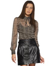 Tulip pattern leather mini skirt for women