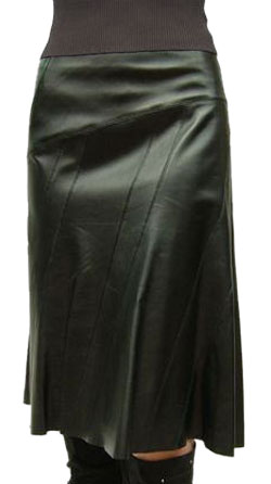 Pure Lamb Leather Flared Skirt for Women