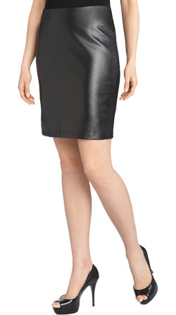 Stretchy pencil women leather skirt