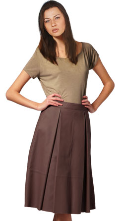 Pleated Leather Midi Skirt for Women