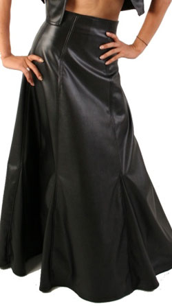 Flared leather skirt for women