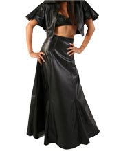 flared-long-womens-leather-skirt