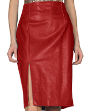 vibrant-knee-length-womens-leather-skirt