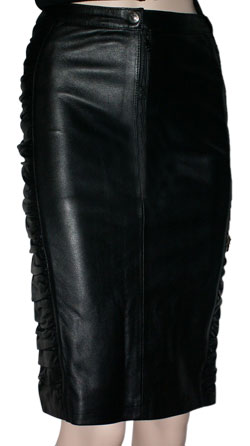 Ruffled Pencil Fit Leather Skirt for Women