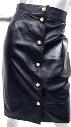 Melodious pearl Leather Skirt for Women