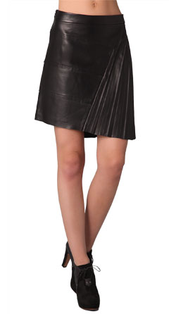Vertical Pleated Dazzling Leather Skirt