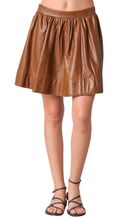 Leather skirt with blow skirt hem to make you look attractive