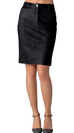 Glossy formal leather skirts