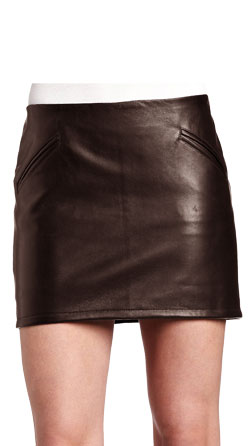 Shiny Textured Formal Leather Skirts