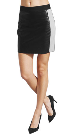 Pop Up Color Block Leather Skirt