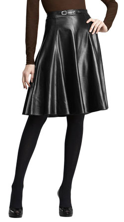 Below Hip Pleated Official Leather Skirt