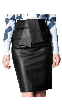 Above the Knee Length Skin Touch Leather Skirt