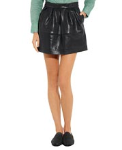 Bubble Style Mini Leather Skirt