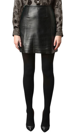 Chic Cut out Leather Skirt