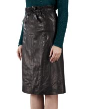 Fully Lined Elegant Leather Skirt
