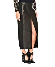 Full Length and Paneled Leather and Fabric Skirt