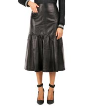 Frilled and Sober Leather Skirt