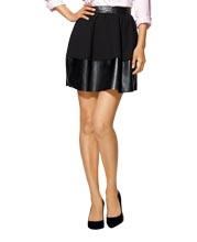 Flared and Attractive Mini Leather and Fabric Skirt