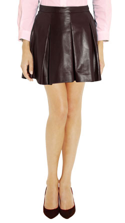 Sweet A-Line Pleated Leather Skirt