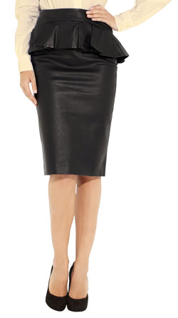 Sophisticated Leather Peplum Skirt